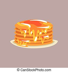 Fresh tasty pancakes with honey on a plate, traditional breakfast food vector Illustration