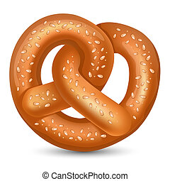 Pretzel - Fresh tasty Pretzel for Oktoberfest. Vector...