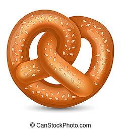 Fresh tasty Pretzel for Oktoberfest. Vector illustration.