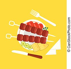 Fresh tasty red meat slice with tomato, pepper, cucumber on plate with fork and knife. Dinner lunch top view concept. Vector flat cartoon illustration