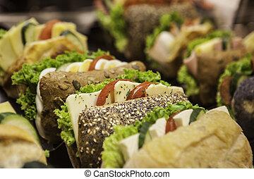fresh tasty sandwiches