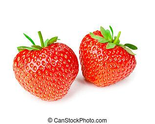 Fresh tasty strawberries isolated on white background