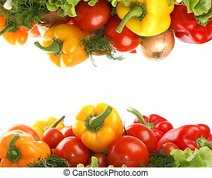 Fresh tasty vegetables isolated on white