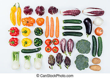 Fresh tasty vegetables on white background