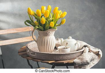 Fresh tea and a beautiful bouquet
