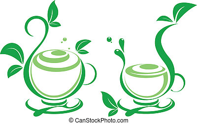 Fresh tea and green leaves  - Vector icon of green tea cup