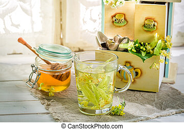 Fresh tea with honey for flu