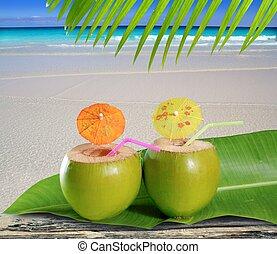 fresh tender green coconuts straw beach cocktails - fresh...