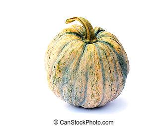 Fresh Thai green pumpkin vegetable on white backgrounds