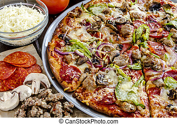 Fresh Thin Crust Supreme Pizza - Close up of fresh baked ...