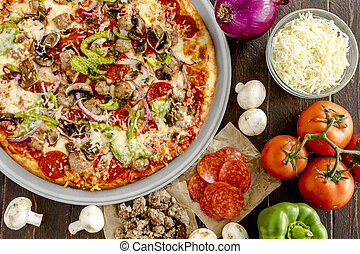 Fresh Thin Crust Supreme Pizza - Fresh baked thin crust...