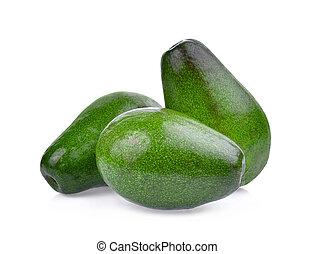 fresh three whole avocado isolated on white background