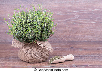 Fresh thyme in a bag on wooden background