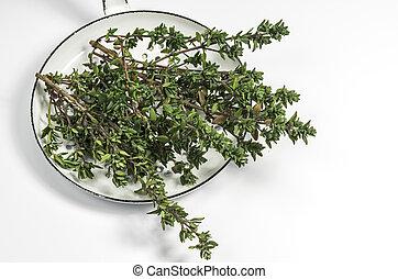 Fresh thyme in a enamel bowl