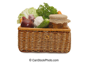 Fresh, tinned vegetables in a wattled box