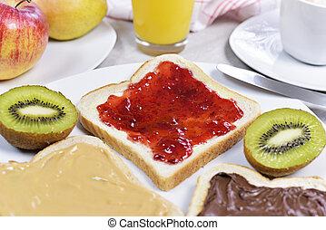 Fresh toast bread or breakfast scene