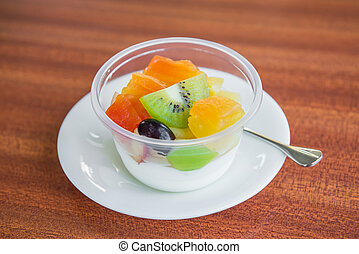 Fresh tofu with fruit salad