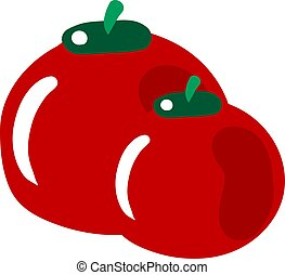 Fresh tomato, illustration, vector on white background.