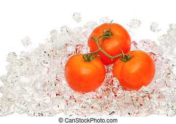 Fresh tomato on ice
