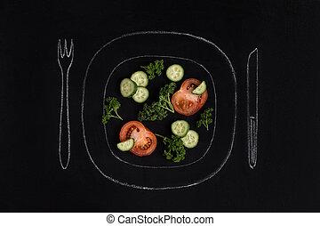 Fresh tomato salad on a white ceramic plate - Fresh tomato...