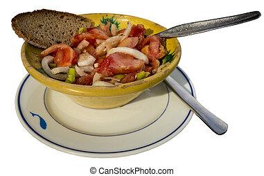 Fresh tomato salad with bread