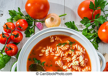 Fresh tomato soup made of vegetables