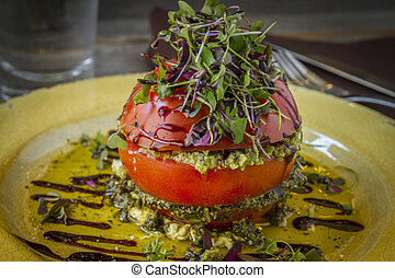 Fresh Tomato Tower with Olive Tapenade - Fresh tomato tower...