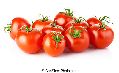 fresh tomato vegetables with green leaves isolated on white...