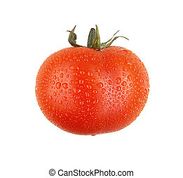 Fresh tomato with drops, isolated on white background. XXL. Studio photo. Red.