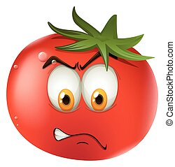 Fresh tomato with face