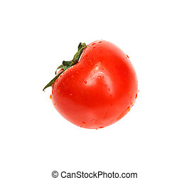 fresh tomato with shadow isolated on white