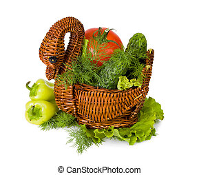 Fresh tomatoes, cucumbers, pepper in a wooden vase