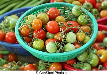 Fresh tomatoes in market