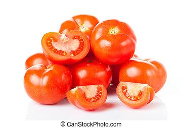 Fresh tomatoes isolated on white.