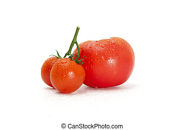 Fresh tomatoes on a green stem isolated on white background. Close-up, side view