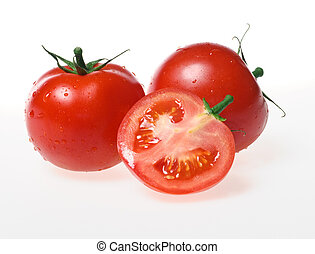 tomatoes - fresh tomatoes over white background