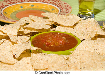Fresh tortilla chips and salsa