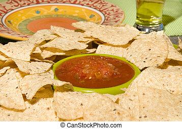Fresh tortilla chips and salsa