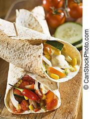 tortilla - fresh tortilla on the board close up shoot