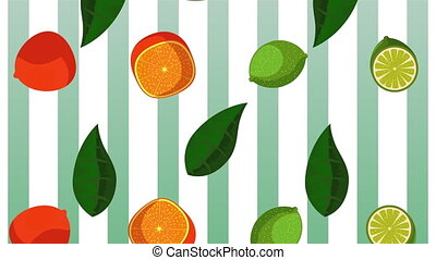 fresh tropical and exotic citrus fruits , hd video animation