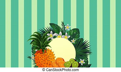 fresh tropical and exotic fruits , hd video animation