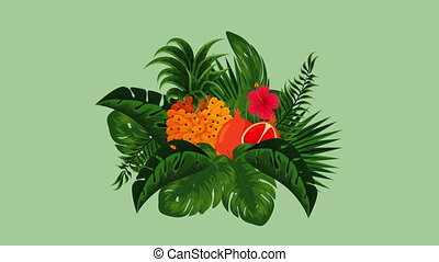 fresh tropical and exotic oranges and pineapple fruits , hd...