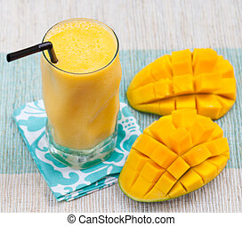 Fresh tropical fruit smoothie mango juice