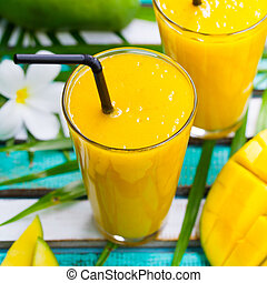 Fresh tropical fruit smoothie mango juice.
