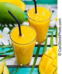 Fresh tropical fruit smoothie mango juice.