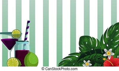 fresh tropical juice fruit and cocktail , hd video animation