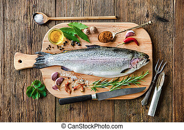 Fresh trout with spices and seasoning