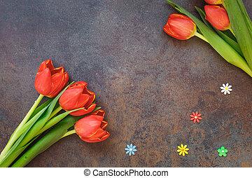 Fresh tulips with flower sprinkles