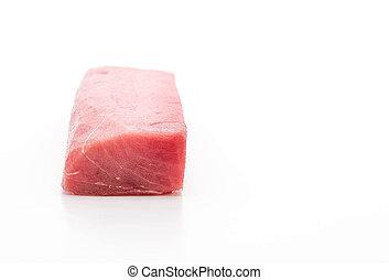 fresh tuna on white