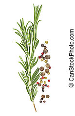 Fresh twig of rosemary with red and black pepper isolated on a white background. Top view.